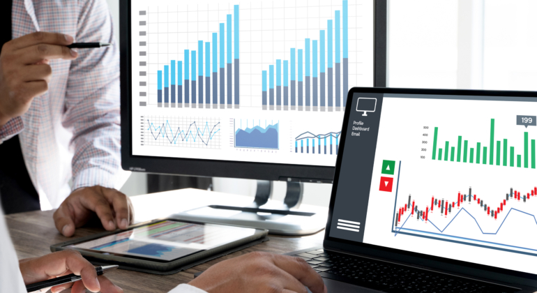 business man work chart schedule or planning financial report data